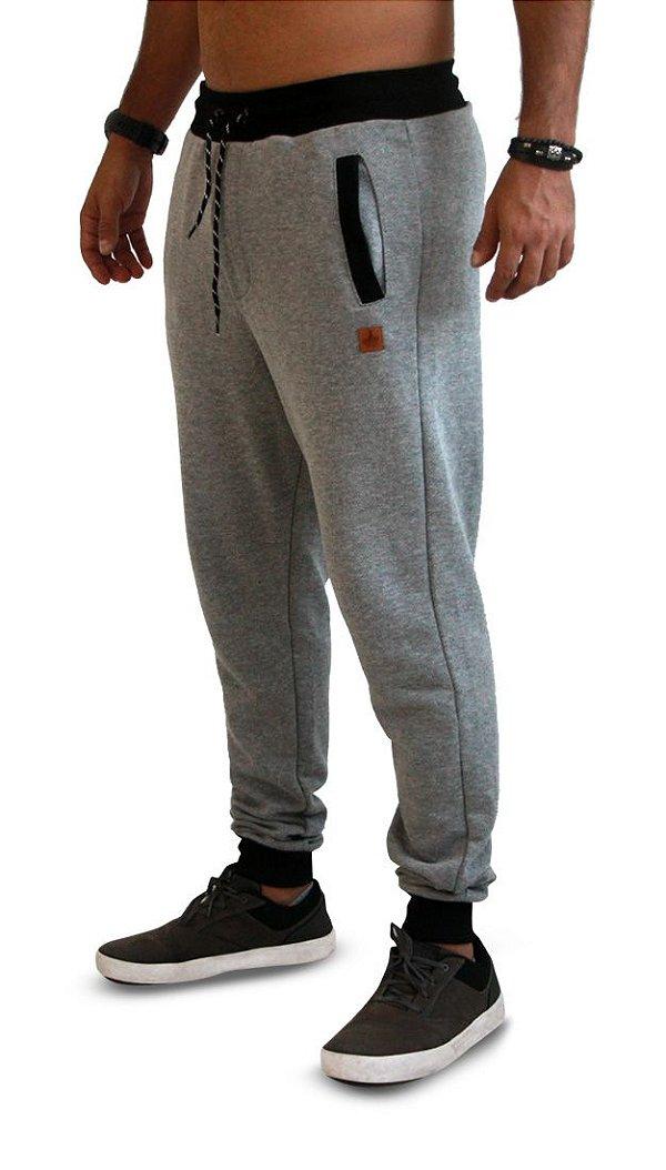 Calça Masculina Moletom Cinza Tweed