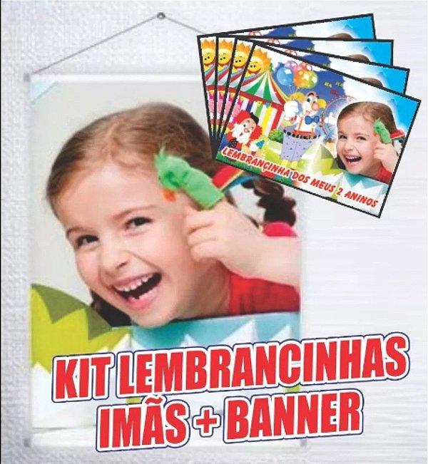 Kit Festas - Banner e imãs personalizados