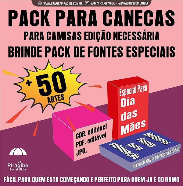 Arte - Pack para canecas DIA DAS MÃES + Fontes especiais