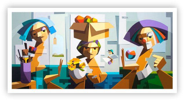 As 3 modelos no atelier e o pit voador / Fine Art em Tela sem moldura - Manasses Andrade