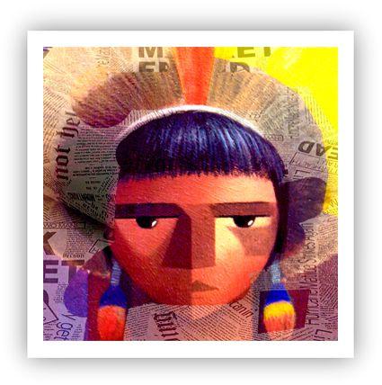 Índio no kuarup / Fine Art em Tela sem moldura - Manasses Andrade