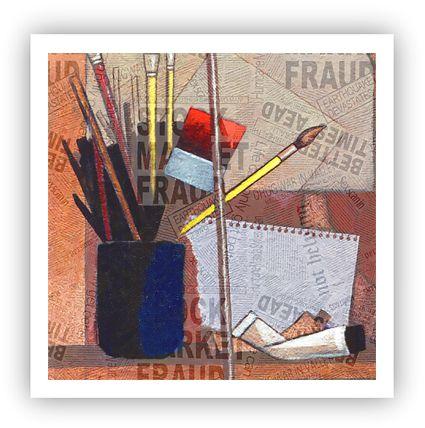 Na mesa do atelier / Fine Art em Tela sem moldura - Manasses Andrade