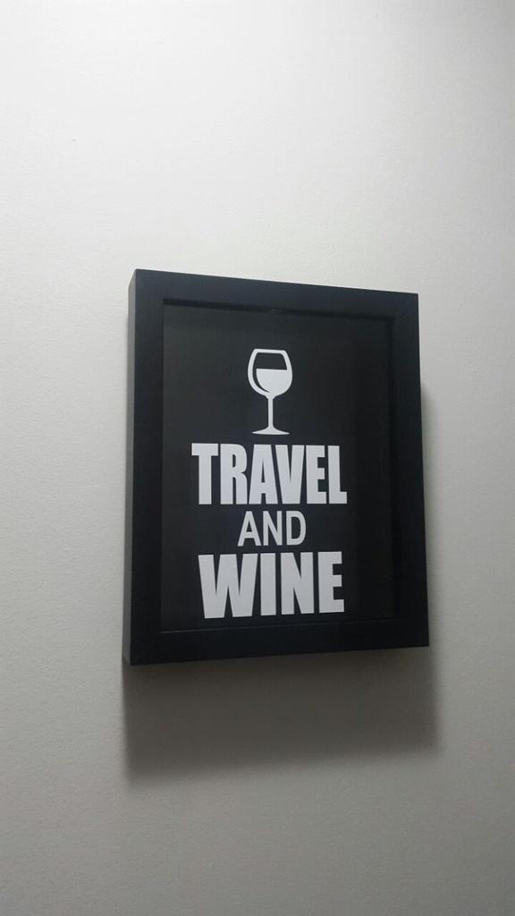 Mini Quadro Porta-Rolhas -Travel and Wine - Pequeno