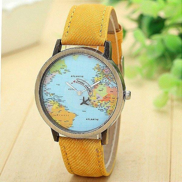 Relógio Mapa Mundi Avião - Amarelo