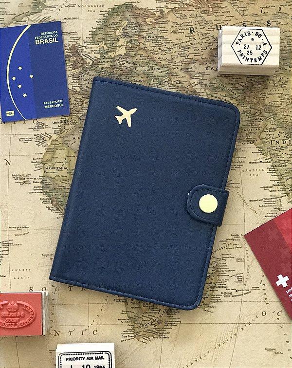 Porta Passaporte Viajante - Azul Escuro