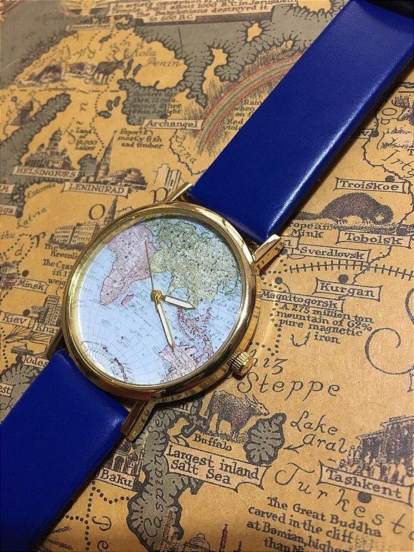 Relógio World Map Azul