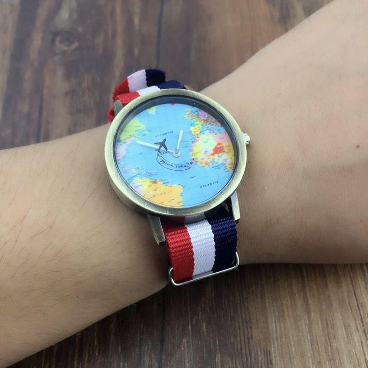 Relógio Mapa Mundi Avião - Estilo
