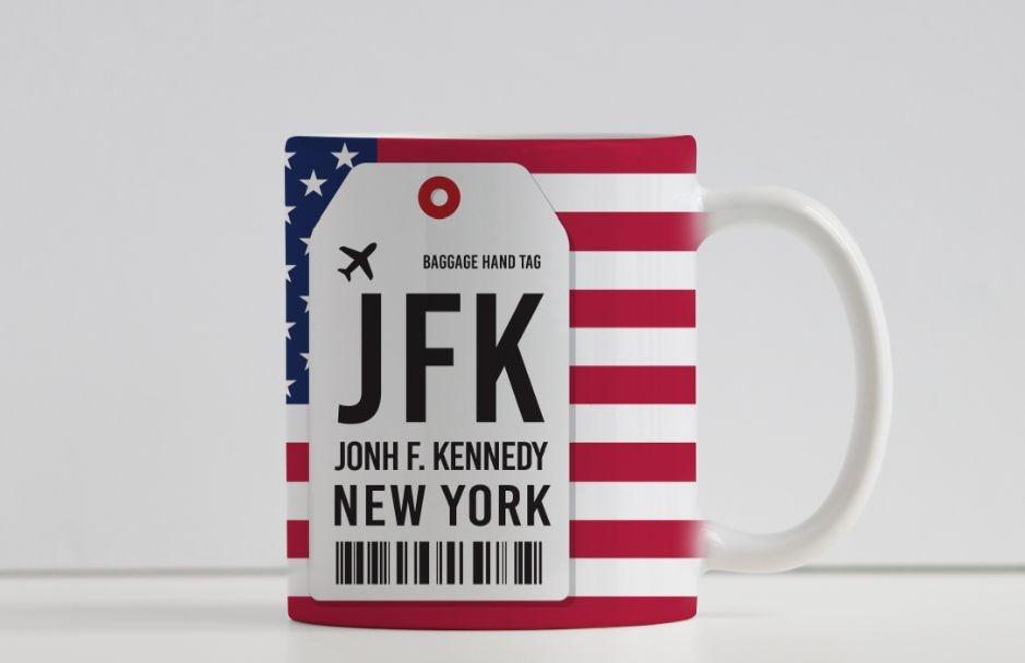 Caneca Aeroporto JFK,  John F. Kennedy- New York, Estados Unidos