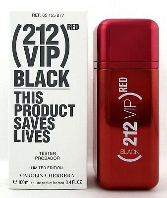 Tester 212 VIP BLACK RED Edition By Carolina Herrera 3.4 Oz. Eau De Parfum Spray Masculino