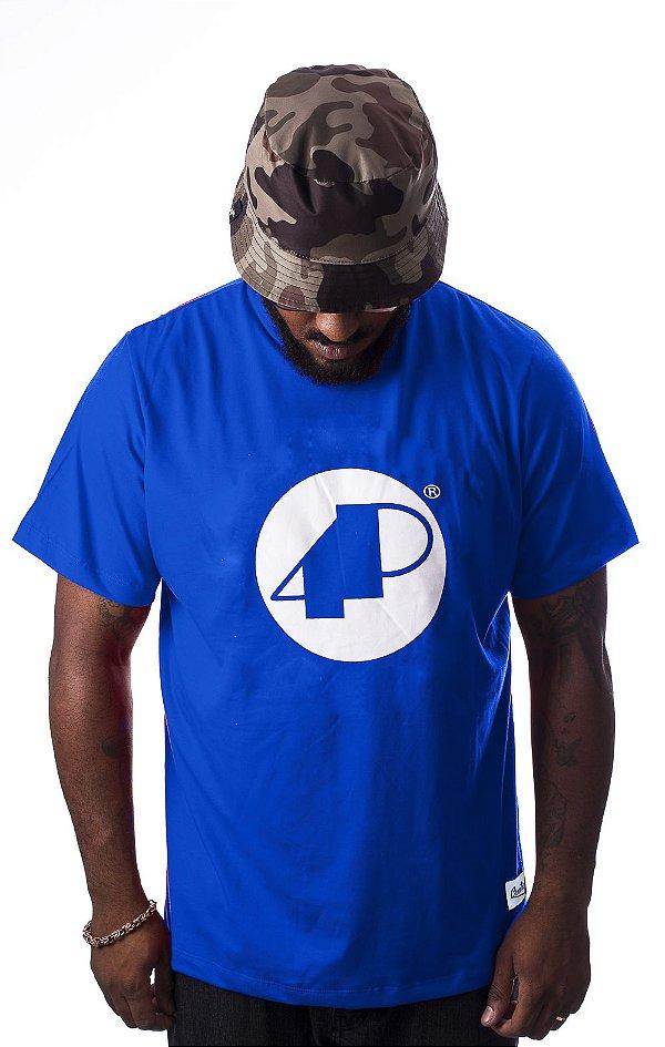 Camiseta Azul  4P Clássica com logo Branco