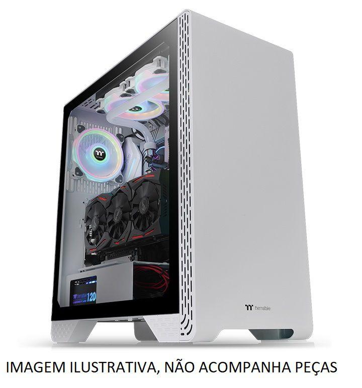 Gabinete Gamer ThermalTake, S300 Snow Edition, Mid Tower, Vidro Temperado, White, ATX, CA-1P5-00M6WN-00, Sem Fonte, Com 1 Fan
