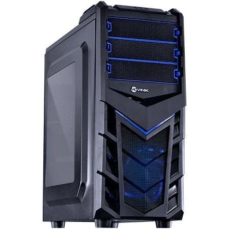 Gabinete ATX Gamer VINIK Eruption V2 Preto e Azul C/ Acrílico e USB 3.0