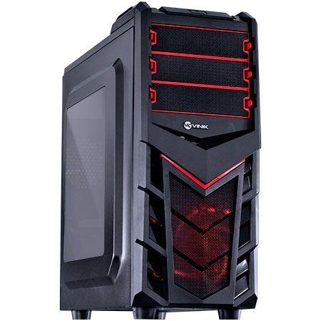 Gabinete ATX Gamer VINIK Eruption V2 Preto e Vermelho C/ Acrílico e USB 3.0