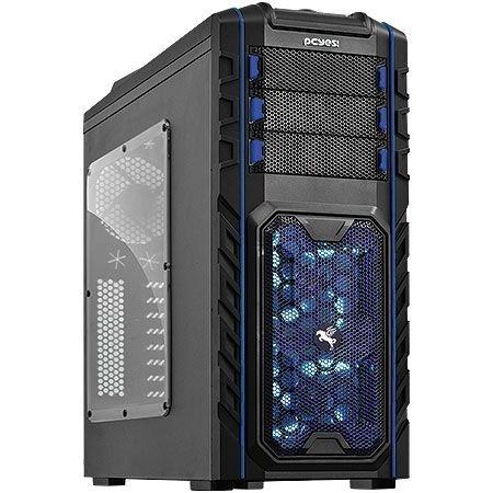 Gabinete PCYes Mid-Tower Pegasus Hot-Swap FAN LED Azul Lateral em Acrílico sem Fonte 21500