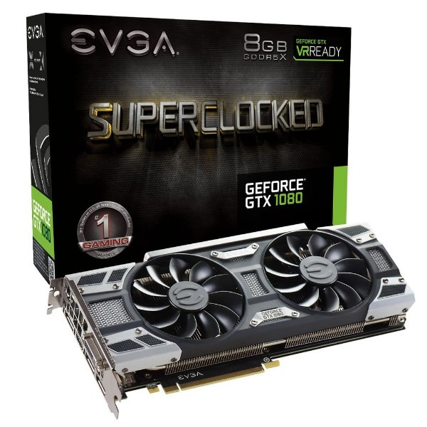 Placa de Vídeo Geforce GTX 1080 SuperClocked Gaming 8gb DDR5 - 256 Bits EVGA ACX 3.0 08G-P4-6183-KR