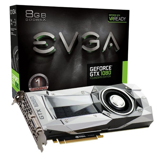 Placa de Vídeo Geforce GTX 1080 Founders Edition 8gb DDR5 - 256 Bits EVGA 08G-P4-6180-KR