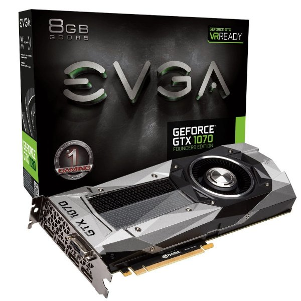 Placa de Vídeo Geforce GTX 1070 Founders Edition 8gb DDR5 - 256 Bits EVGA 08G-P4-6170-KR