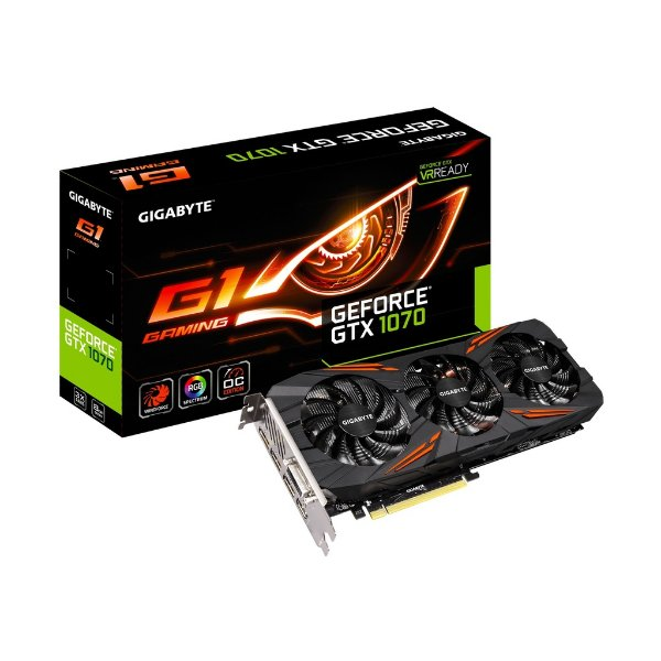Placa de Vídeo Geforce GTX 1070 G1 Gaming 8gb DDR5 - 256 Bits Gigabyte GV-N1070G1GAMING-8GD