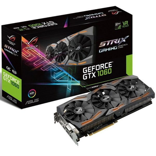 Placa de Vídeo Geforce GTX 1060 Strix 6gb DDR5 192 Bits ASUS Strix-GTX1060-O6G Gaming