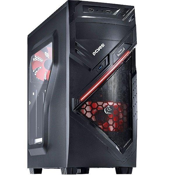 Gabinete ATX Gamer PCYES Chacal Vermelho C/ Lateral de Acrílico e USB 3.0