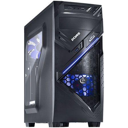 Gabinete ATX Gamer PCYES Chacal Azul C/ Lateral de Acrílico e USB 3.0
