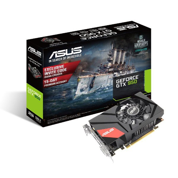 Placa de Vídeo Geforce GTX 950 ASUS Mini 2gb DDR5 - 128 Bits GTX950-2G 90YV08U1-M0NA00