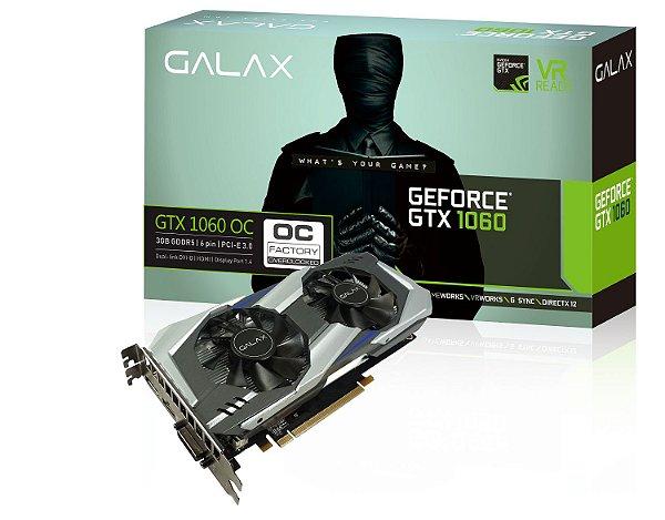 Placa de Vídeo Geforce GTX 1060 OC Dual Fan 3gb DDR5 - 192 Bits Galax 60NNH7DSL9C3