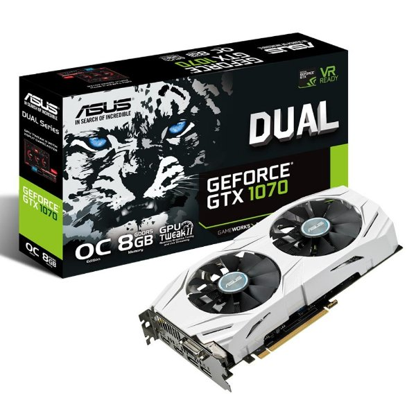 Placa de Vídeo Geforce ASUS GTX 1070 OC 8gb DDR5 - 256 Bits DUAL-GTX1070-O8G