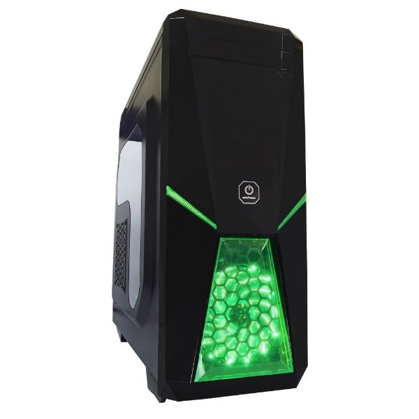 Gabinete ATX Gamer One Power Spartacus Preto e Verde C/ Acrílico Lateral e USB 3.0 Frontal
