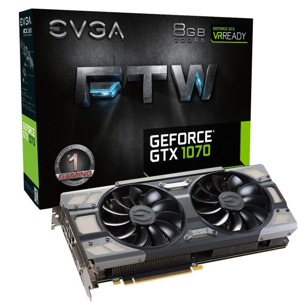 Placa de Vídeo Geforce GTX 1070 FTW 8gb DDR5 - 256 Bits EVGA 08G-P4-6276-KR