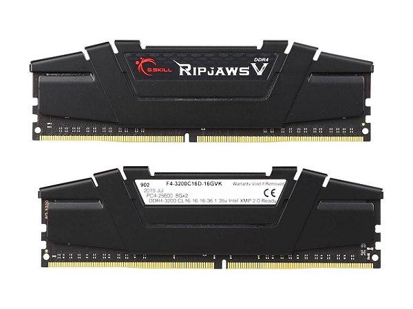 Kit Memória 16gb DDR4 3200 Mhz G.Skill RipJaws F4-3200C16D-16GVK (2X8gb)