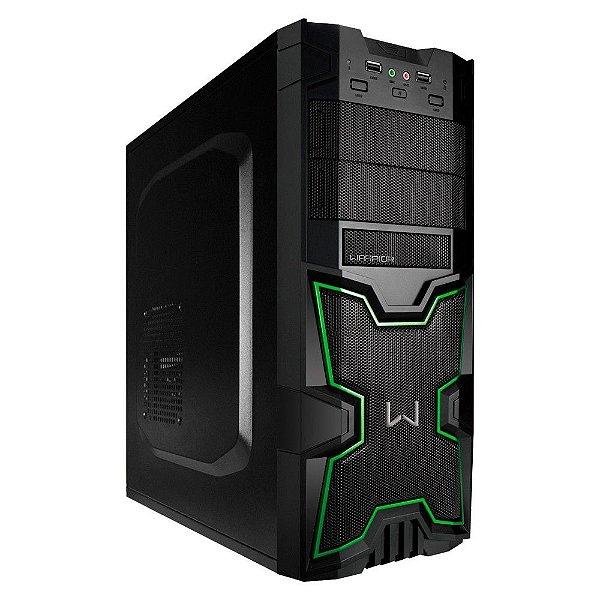 Gabinete Micro ATX Gamer Warrior Preto e Verde C/ 2 USB 2.0 Frontal - Multilaser GA154