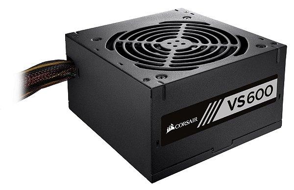 Fonte ATX 600 Watts Reais C/ PFC Ativo Corsair VS600 80% Plus White CP-9020119-LA