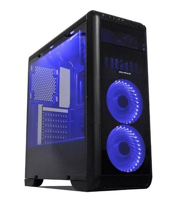 Gabinete ATX Gamer Mymax TORNADO Preto C/ 2 Coolers de LED Azul, Acrílico Lateral e USB 3.0 Frontal