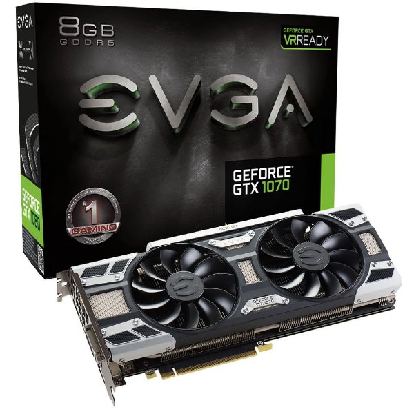 Placa de Vídeo Geforce GTX 1070 Gaming ACX 3.0 8gb DDR5 - 256 Bits EVGA 08G-P4-6171-KR
