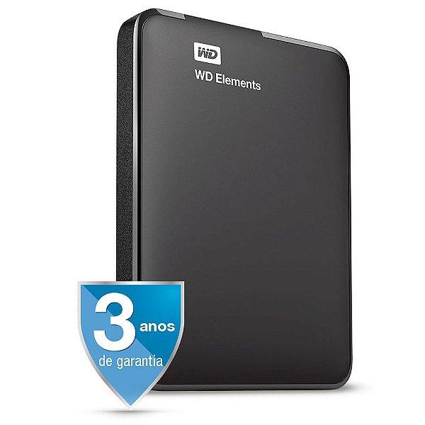 HD Externo Portátil 1 Tera USB 3.0 Western Digital Elements WDBUZG0010BBK