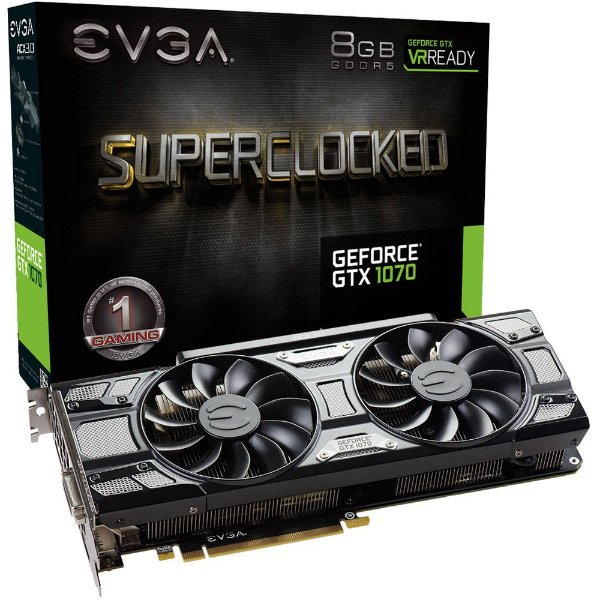 Placa de Vídeo Geforce GTX 1070 SC 8gb GDDR5 - 256 Bits EVGA 08G-P4-5173-KR