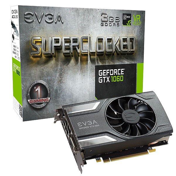 Placa de Vídeo Geforce GTX 1060 SuperClocked 3gb GDDR5 - 192 Bits EVGA 03G-P4-6162-KR