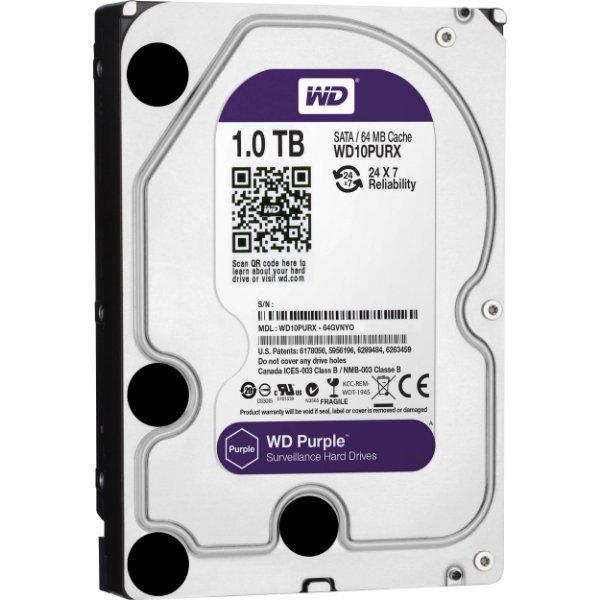 HD 1 Tera Sata 6gbs Western Digital Purple Surveillance IntelliPower 5400 RPM 64MB - WD10PURZ