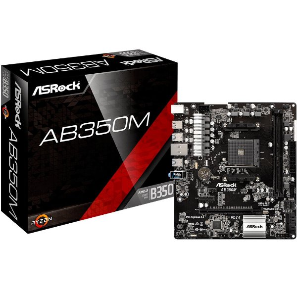 Placa Mãe ASrock AB350M P/ AMD Socket AM4 DDR4