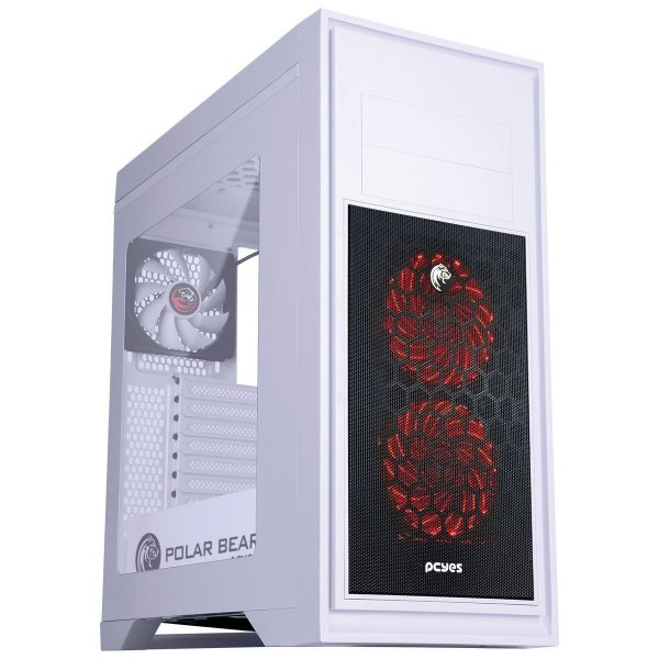 Gabinete Mid Tower Gamer PCYES Bear Polar Branco C/ 2 Coolers de LED Multicolors e Lateral de Acrílico - PBEARBCO3FCARL