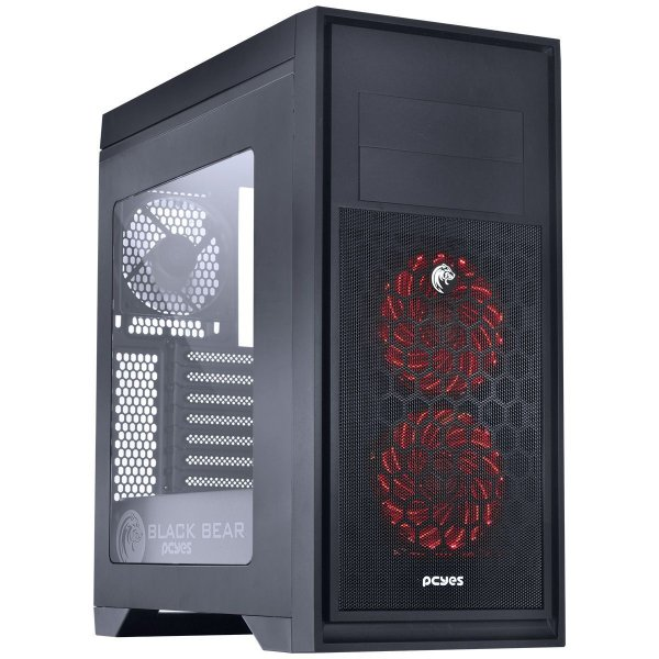 Gabinete Mid Tower Gamer PCYES Bear Black C/ 2 Coolers de LED Multicolors e Lateral de Acrílico - BEARBCO3FCARL