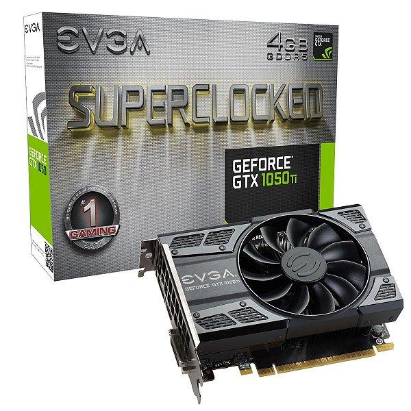 Placa de Vídeo Geforce GTX 1050TI SuperClocked 4gb GDDR5 - 128 Bits EVGA 04G-P4-6253-KR