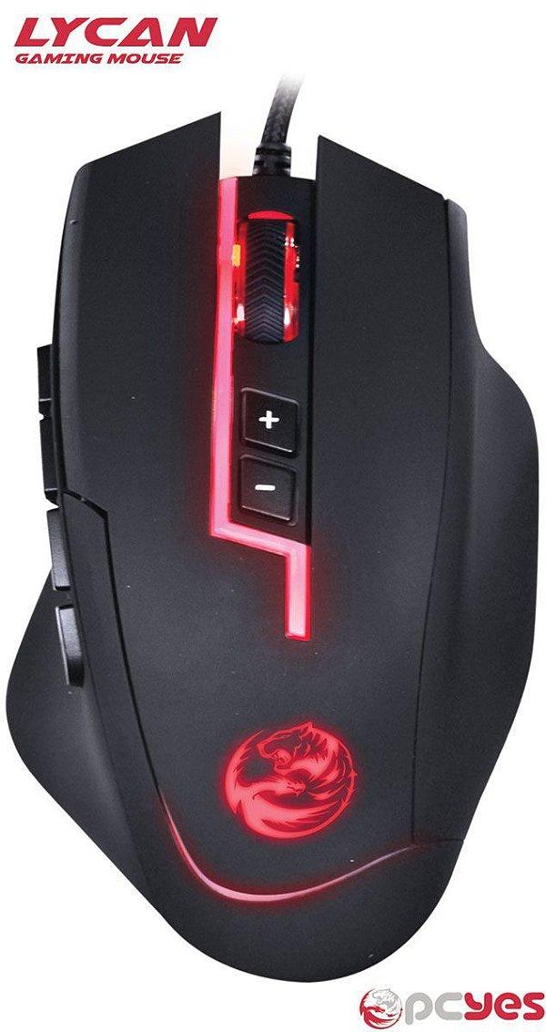 Mouse Gamer 8200 DPI RGB C/ 13 Botões Programáveis PCYES Lycan