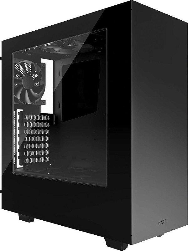 Gabinete ATX Gamer Preto C/ Tampa Lateral de Acrílico e USB 3.0 Frontal NZXT S340 - CA-S340W-B1