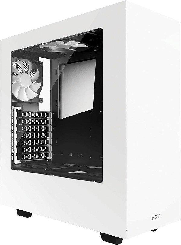 Gabinete ATX Gamer Branco C/ Tampa Lateral de Acrílico e USB 3.0 Frontal NZXT S340 - CA-S340W-W1