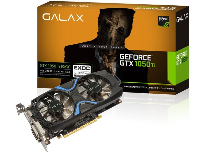 Placa de Vídeo Geforce GTX 1050TI EX OC 4gb GDDR5 - 128 Bits GALAX 50IQH8DVN6EC