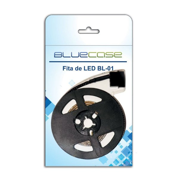 FITA LED P/ GABINETE 80MM AZUL BLUECASE BL-01B BLISTER 12V