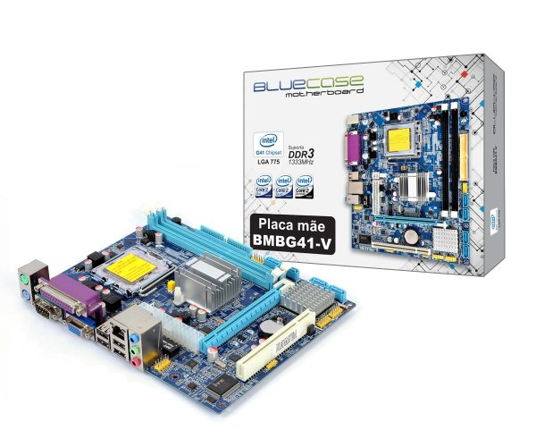 Placa Mãe BlueCase BMBG41-V BOX DDR3 VGA/SERIAL/PARALELA Socket LGA 775