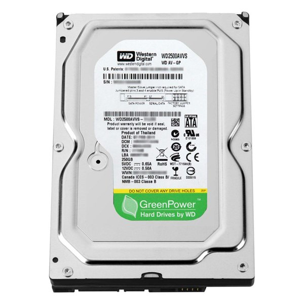 "HD Interno 250GB Western Digital WD2500AVVS 3.5"" (polegadas) Green Power SATA 6gb/s IntelliPower"